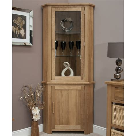Corner Cabinet Living Room Furniture Boston Corner Display Cabinet With Light Solid Oak Living Room Furniture