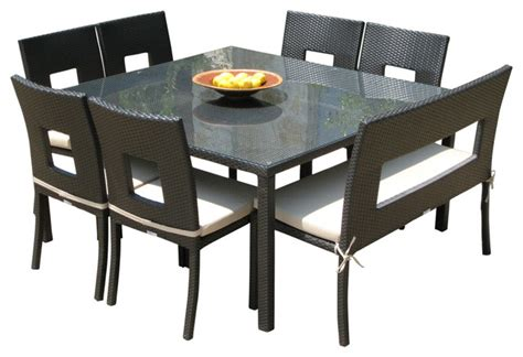 Outdoor Dining Tables For 8 Outdoor Wicker Resin 8 Square Dining Table Chairs And Bench Set Contemporary Outdoor