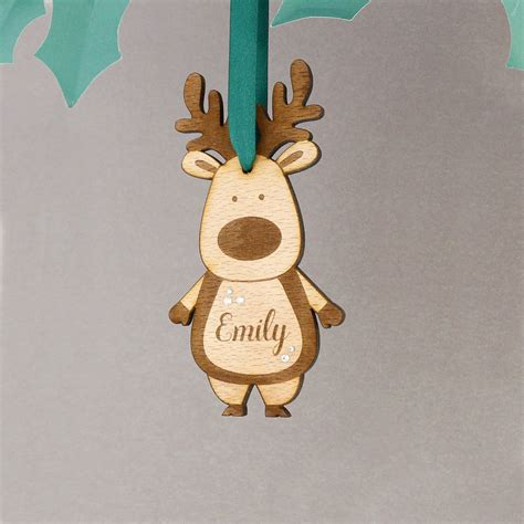 personalised wooden reindeer christmas decoration by no