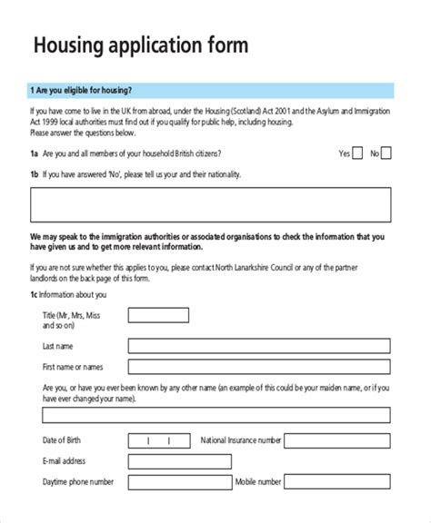 Housing Application Template application sle sle letter of application 1
