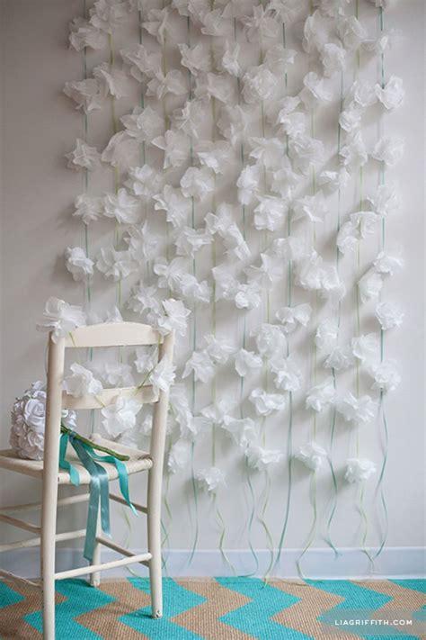 hanging paper flower tutorial napkin flower garland diy paper flower backdrop