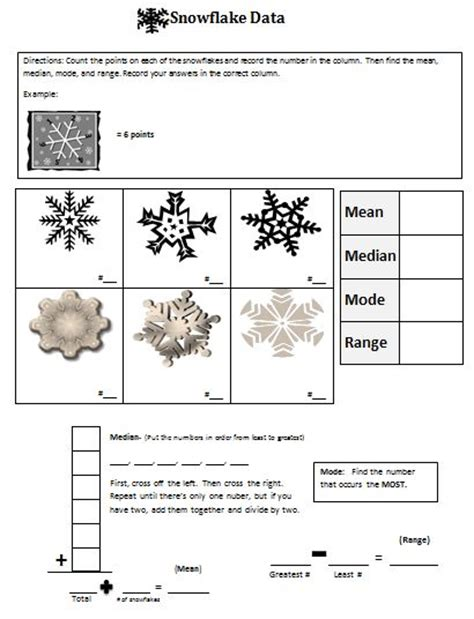 snowflake bentley worksheets 68 best images about mean median mode and range on