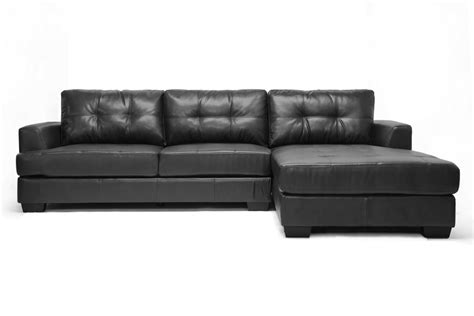 dobson sectional sofa baxton studio dobson black leather modern sectional sofa