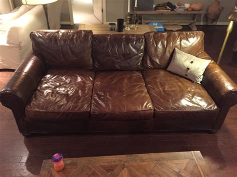 pull up leather sofa owner of used rh lancaster aniline wax pull up leather