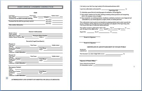 permission to treat form template sle consent form printable forms