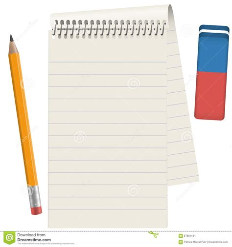 How To Make Paper Pads - paper pad with pencil and eraser stock photo image 57601134