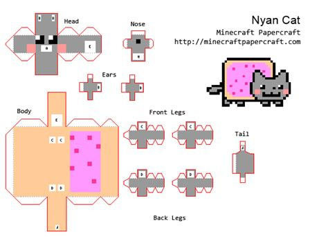 Minecraft Papercraft Cat - papercraft nyan cat