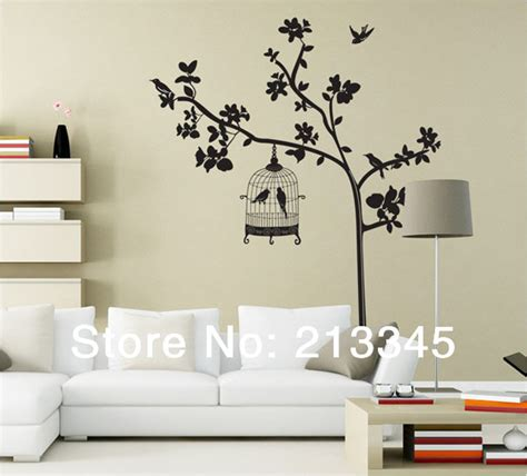 Bird Cage Wall Sticker Stiker 1 fundecor large size removable home wall deco plants