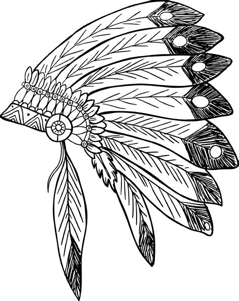 indian headdress template american headdress printable coloring pages sketch