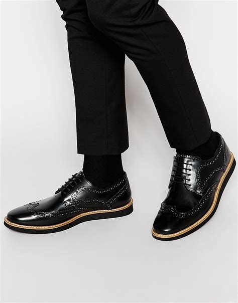 asos brogue shoes in black leather in black for lyst