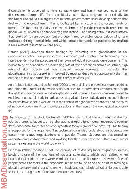 mba dissertation exles mba dissertation sle on globalization
