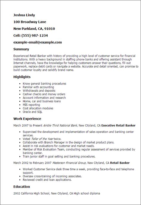 resume personal banker resume description finance