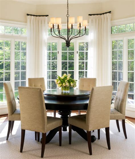 dining room bay window curtain rods for bay windows dining room transitional with