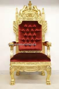 a tudor royal throne chair gold and velvet hshire