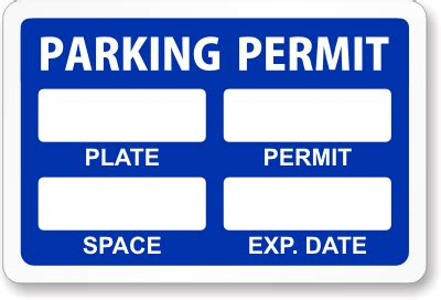 Custom Parking Permits Parking Decals Autos Post Parking Placard Template
