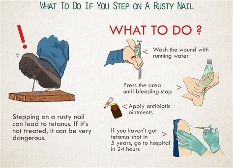 what does to you how soon after stepping on a nail should you get a