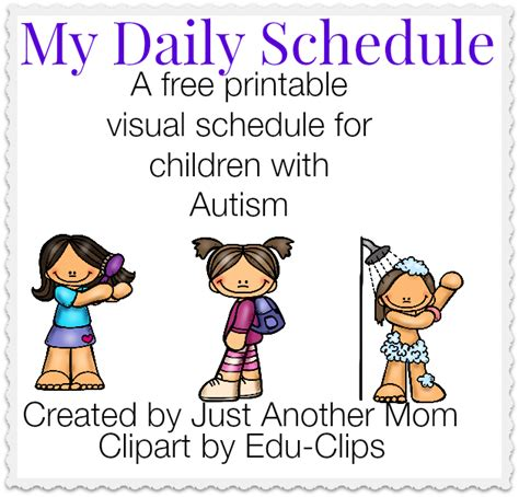 printable daily schedule for autistic child my daily schedule a free printable visual schedule