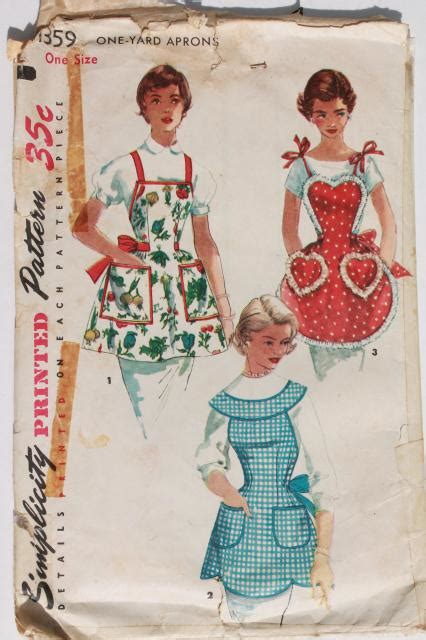 Vintage Sewing Patterns Lot 40s 50s 60s Kitchen Aprons Apron Designs And Kitchen Apron Styles