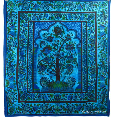 bed tapestry queen size blue dorm decor tree of life hippie tapestry