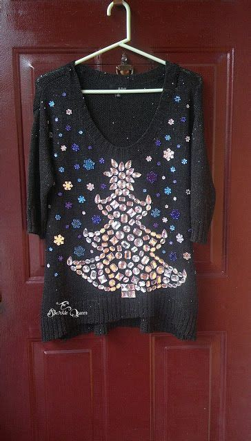 diy ugly christmas sweater with a rhinestone christmas