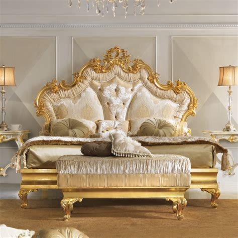 gold bed rococo gold leaf button upholstered bed