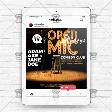 Open Mic Fridays Instagram Flyer Template Exclsiveflyer Free And Premium Psd Templates Instagram Ad Template Psd