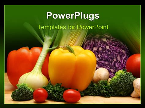 powerpoint templates vegetables powerpoint template a number of vegetables with green