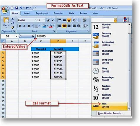 excel 2007 leading zero format microsoft excel tips