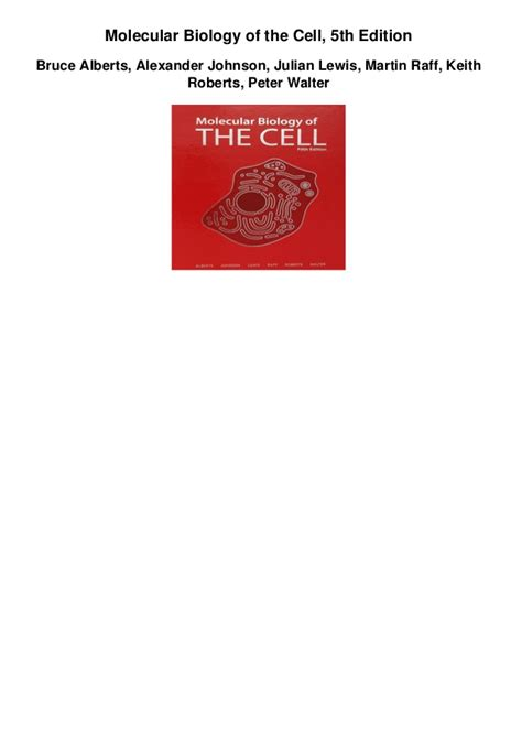 Molecular Biology Of The Cell molecular biology of the cell 5th edition