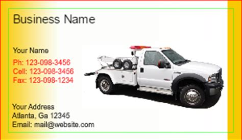 Tow Truck Business Cards Designsnprint Towing Business Cards Templates