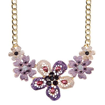 Kalung Korea Choker Pendant Decorated Hollw Out Weaving trendy purple decorated hollow out flower design alloy bib necklaces asujewelry