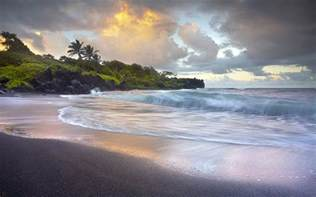 Black Sand Beaches Hawaii by Waves Crashing Onto Wai Anapanapa Black Sand Beach H Na