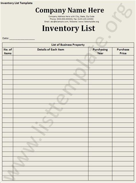 inventory list template inventory list template craft ideas templates