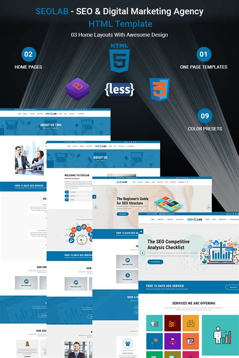 Seolab Seo Digital Marketing Agency Html Website Template 68551 Digital Agency Website Templates