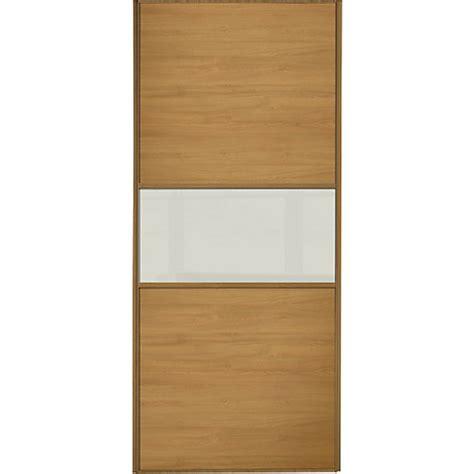 wickes wardrobe doors wickes sliding wardrobe door fineline oak panel soft white glass 2220 x 762mm wickes co uk