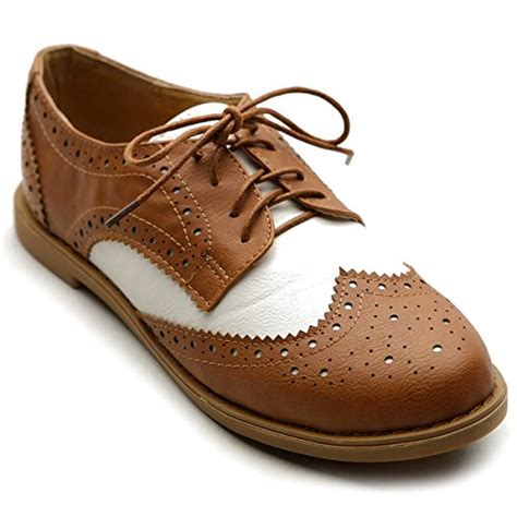 womens oxford shoes flat ollio women s flat shoe wingtip lace up two tone oxford