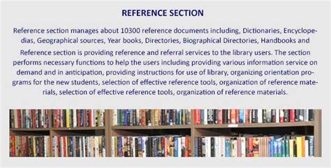 what is reference section in library dr k c g verghese research resourcce centre