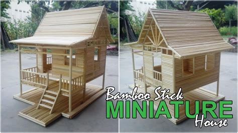 miniature house bamboo stick miniature house simple village house