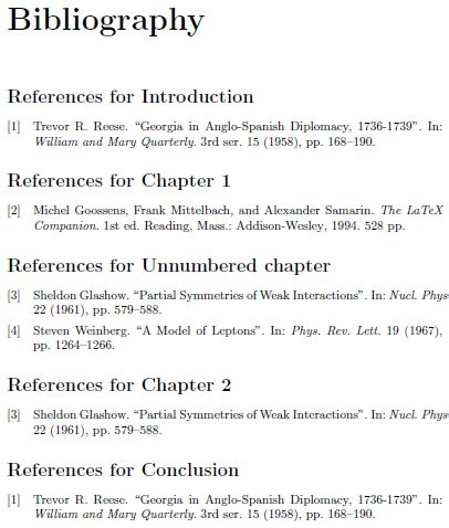 sectioning proper way to include unnumbered chapters in a per chapter bibliography using