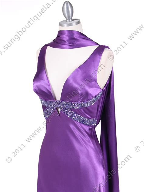 draped evening dress purple draped back evening gown sung boutique l a
