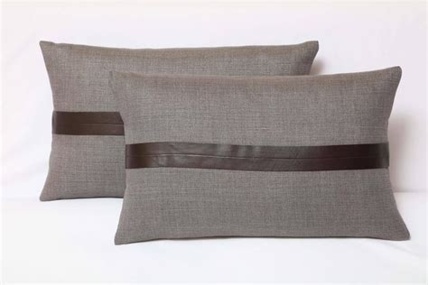 Brown And Grey Pillows by Set Of Two Gray Linen And Brown Leather