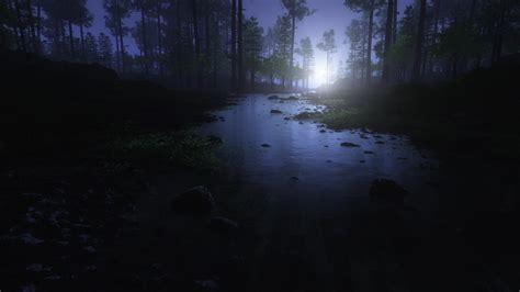 wallpaper desktop ultra hd eerie moon shining forest river 4k ultra hd desktop wallpaper