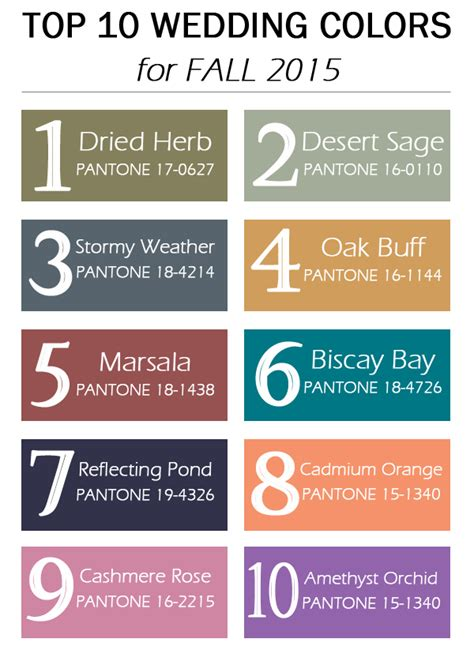 fall wedding colors 2015 top 10 pantone wedding colors for fall 2015