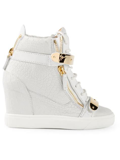 white wedge sneakers giuseppe zanotti concealed wedge heel hi top sneakers in