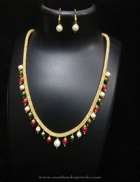 beaded choker necklace designs beaded imitation necklace design south india jewels