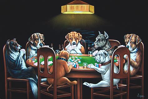 """Velvet Painting of 7 Dogs Playing a Poker Game 36"""" X 24"""" Size   Passing an Ace Under the Table"""