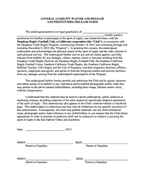 30 Printable Injury Liability Waiver Forms And Templates Fillable Sles In Pdf Word To General Liability Waiver Form Template