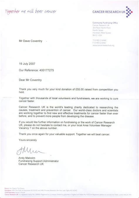 charity donation thank you letter uk atf charity fundraising 2007 8 thank you letters the