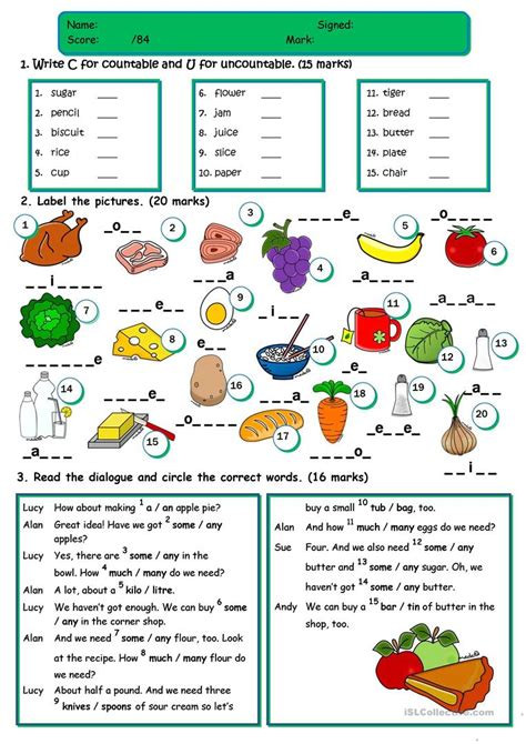 esl some and any worksheets food test countable uncountable a an some any food vocabulary worksheet free esl printable