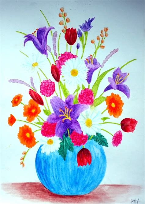Watercolor Flowers In Vase by Watercolor Flower Vase Ii By Vendoritza On Deviantart